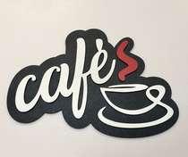 Placa MDF em relevo - Café