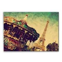 Placa Madeira MDF Carrossel Paris - 28x19 cm