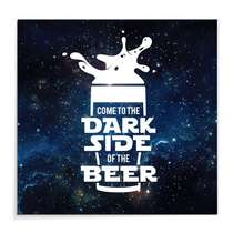 Placa Madeira MDF Dark Side of the Beer- 29x29 cm