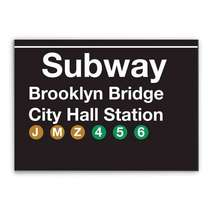 Placa Madeira MDF Subway Brooklyn Bridge - 28x19 cm