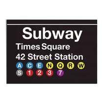 Placa Madeira MDF Subway Times Square - 28x19 cm