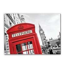 Placa Madeira MDF Telephone Vermelho Londres - 28x19 cm