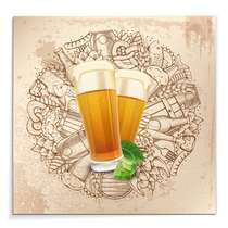 Placa Madeira MDF Two Beer Glasers - 29x29 cm