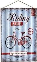Placa Metal Ondulada Vintage - Riding is Fun - 60x40 cm