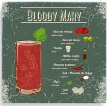 Placa Metal Bloody Mary  - 20 x 20 cm