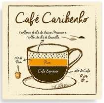 Placa Metal Café Caribenho  - 20 x 20 cm