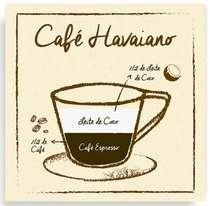 Placa Metal Café Havaiano  - 20 x 20 cm