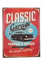 Placa Metal Classic Garage em relevo