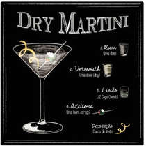 Placa Metal Dry Martini - 20x20 cm