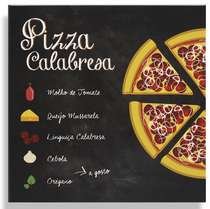 Placa Metal Pizza Calabresa  - 20x20cm