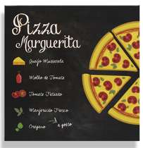 Placa Metal Pizza Marguerita - 20x20cm