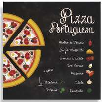 Placa Metal Pizza Portuguesa - 20x20cm