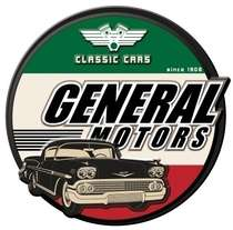 Placa Metal Recortada Garage - Classic Cars GM - 40 cm