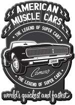 Placa Metal Recortada Garage - Camaro - 45x30 cm