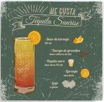 Placa Metal Tequila Sunrise  - 20 x 20 cm