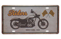 Placa Metal Vintage Riders New York 1955