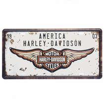 Placa Metal Vintage - America Harley Davidson