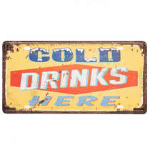 Placa Metal Vintage - Cold Drinks