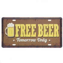 Placa Metal Vintage - Free Beer