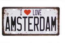 Placa Metal Vintage - I Love Amsterdam