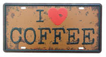 Placa Metal Vintage - I Love Coffee