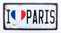 Placa Metal Vintage - I love Paris
