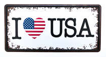 Placa Metal Vintage - I love USA