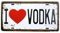Placa Metal Vintage - I love Vodka