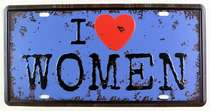 Placa Metal Vintage - I love Women