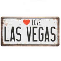 Placa Metal Vintage - Las Vegas