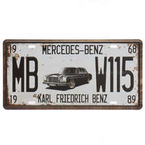 Placa Metal Vintage - Mercedes-Benz 1968