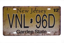 Placa Metal Vintage - New Jersey