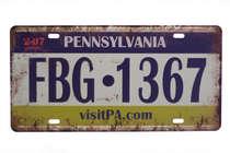 Placa Metal Vintage - Pennsylvania