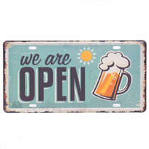 Placa Metal Vintage - We Are Open