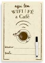 Placa Metal Wifi e Café  - 30 x 21 cm