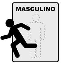 Placa Metal de Sinalização -Toilette Masculino - 18x18 cm