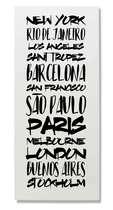 Placa Metal - Cidades Globais Branco