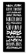 Placa Metal - Cidades Globais Preto