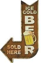 Placa Metal Adesivada - Ice Cold Beer - 49x30 cm