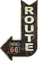 Placa Metal Adesivada - Route 66- 49x30 cm