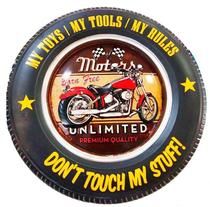 Placa Pneu Metal - Motors Unlimited