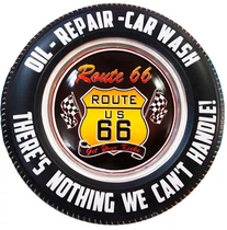 Placa Pneu Metal - Route 66