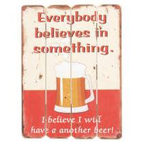 Placa de Madeira - Believe in Beer