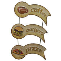 Placa de Metal Coffee - Pizza - Burguers