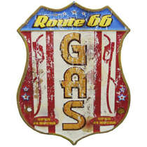 Placa Metal Vintage Route 66 - Gas