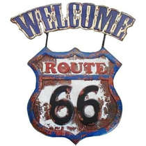 Placa Metal Vintage Welcome Route 66