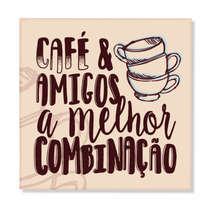 Placa Decorativa em Metal - Café e Amigos - 20x20 cm