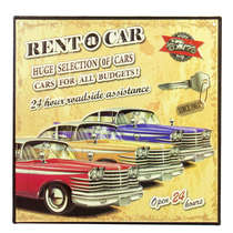Placa Decorativa de Metal - Rent a car - 30x30 cm