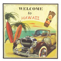 Placa Decorativa de Metal - Hawaii - 30x30 cm