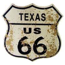 Placa de metal Vintage - Texas US 66